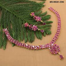 gold stones necklace designs images Ruby stones leaves thilakam design with ruby drop gold plated jpg
