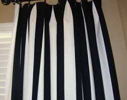 Black Curtains For Bedroom Striped Curtains Etsy