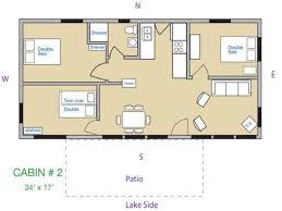 cabin plan bedroom cabins three log floor plans lrg style