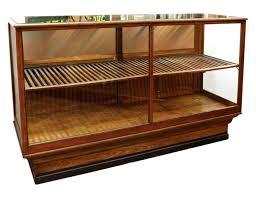 cigar display case oak humidor w plate glass top slatted shelf