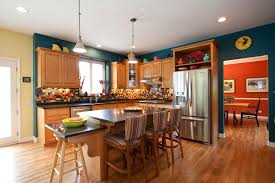 kitchen decorating ideas with accents inspired fiestaware in kitchen traditional with above refrigerator