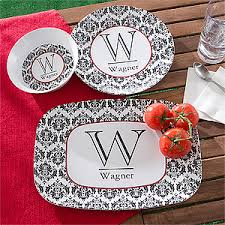 personalized melamine dinnerware set damask family name initial
