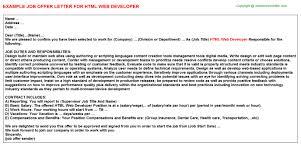 html web developer offer letter