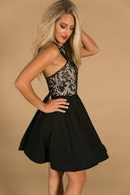 black dress twirl of your dreams fit and flare dress in black impressions