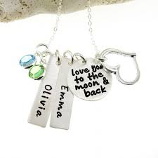 Necklace With Name And Birthstone Jc Jewelry Design I Love You To The Moon And Back Necklace With A