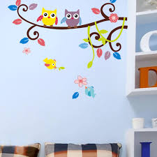cute color cartoon owl branch wall stickers diy children kids room