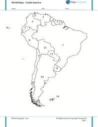 map quiz of south america worksheet mapping for