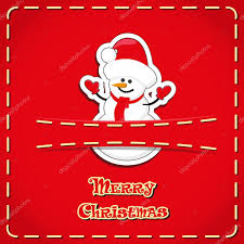 vector banner cute figurines snowman in jeans pocket and hand