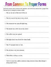 fill in proper and common nouns worksheet common and proper