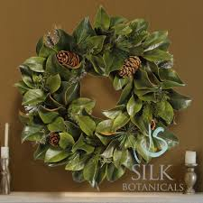 magnolia wreath with pine cones 24 in