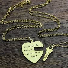 key necklace set images Personalized bff necklace gold color heart key necklace set jpg