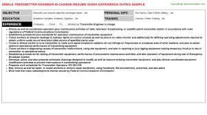 charge resume transmitter engineer in charge resume sle