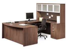 Computer Hutch Desk With Doors U Shaped Desk W Bow Front And Overhead Hutch W 4 Glass Doors