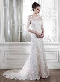 sleeve lace wedding dress illusion neckine v back 3 4 sleeve lace wedding dress