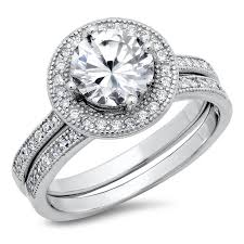 cheap diamond engagement rings amazon com sterling silver cubic zirconia halo 3 3 carat tw round
