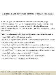 Sample Assistant Controller Resume Top8foodandbeveragecontrollerresumesamples 150509101046 Lva1 App6891 Thumbnail 4 Jpg Cb U003d1431166289