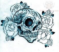 flower sugar skull on arm