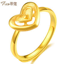 love shaped rings images Love heart shaped gold ring ladies 999 gold ring ring matte jpg