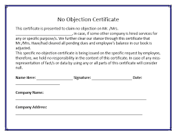 no objection letter for employee free no objection certificate format free word templates