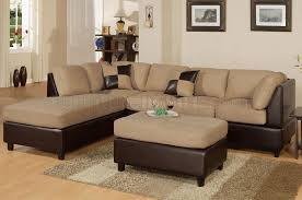 What Is Sectional Sofa F7619 Poundex Hazelnut Microfiber Plush Contemporary Sectional Sofa