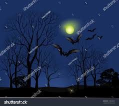 orange halloween party background with bats and stock vector