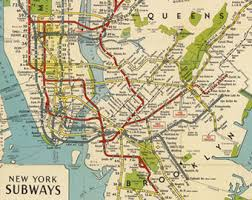 map of new york and manhattan new york map etsy