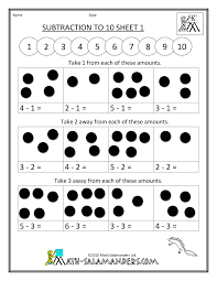 addition and subtraction worksheets subtraction to 10 1 math