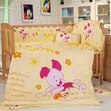 Mickey And Minnie Crib Bedding Disney Characters High Quality 6 Pc Cotton Baby Nursery Bedding