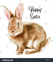 easter rabbit hand drawn sketch watercolor stock illustration