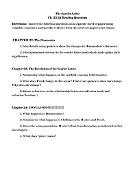 the scarlet letter ch 22 24 reading questions directions answer