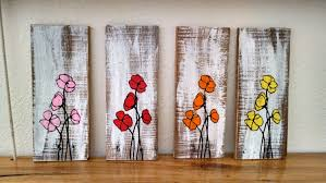painted poppy flower pallet board wall hanging wood