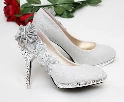 wedding shoes philippines beautiful women pumps silver vogue lace flowers high heels
