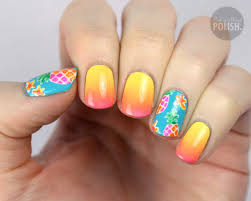 packapunchpolish pineapple and ombre nail art with video tutorial