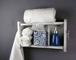 White Bathroom Shelf With Hooks by 2 Shelf White Coat Rack With Hooks Rustic Chunky Wooden