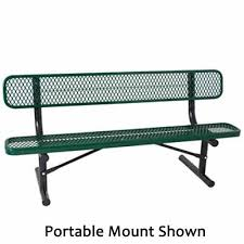 Bench 8 8 Ft Plastic Coated Metal Bench With Back Everest Series The