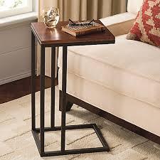 C Side Table Black And Tan Hamilton Narrow Wood Top C Table Bed Bath U0026 Beyond