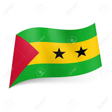 Green Black Red Flag National Flag Of Sao Tome And Principe Yellow Stripe With Two