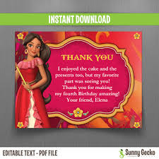 disney of avalor thank you cards instant edit
