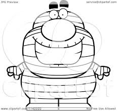 cartoon clipart of a black and white happy pudgy mummy vector