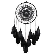 indian catcher hanging decoration handmade feather lace black