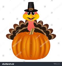 turkey peligrin hat on thanksgiving day stock illustration
