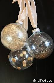 diy gold glitter and glass ornaments simplified bee simplified bee