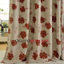 Peach Floral Curtains Quality Polyester Insulated And Privacy Orange Floral Curtains