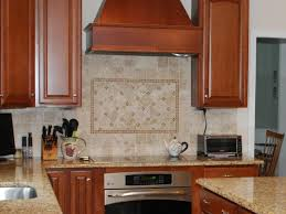 modern beige kitchen stunning glass tile and stone copper strips