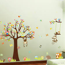 large monkey owl tree wall decal removable sticker kids art large monkey owl tree wall decal removable sticker kids art nursery decor tree wall stickers cartoon wall stickers kids room stickers online with