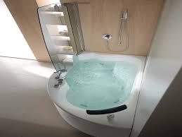 bathroom cream veneer with white acrylic corner whirlpool tub