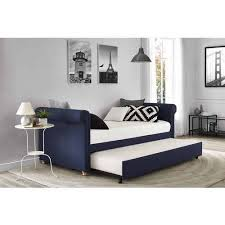 sophia upholstered daybed trundle twin navy walmart com