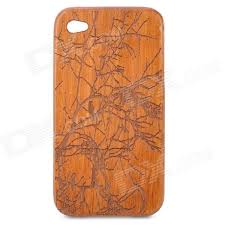 carved birds on tree pattern protective wooden back case for