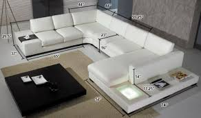 Sectional Sofas Dimensions Divani Casa T35 Modern Italian Leather Sectional Sofa With Light