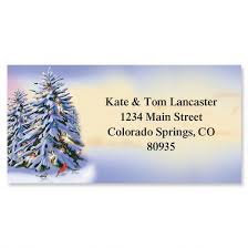 winter silver border address labels colorful images